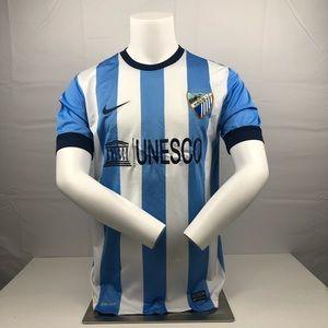 Nike Malaga Blue and White Malaga Football Jersey
